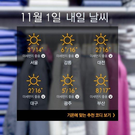 """[내일뭐입지?] """"11월 첫날, 쌀쌀해요""""… 터틀넥+코트 패션"""