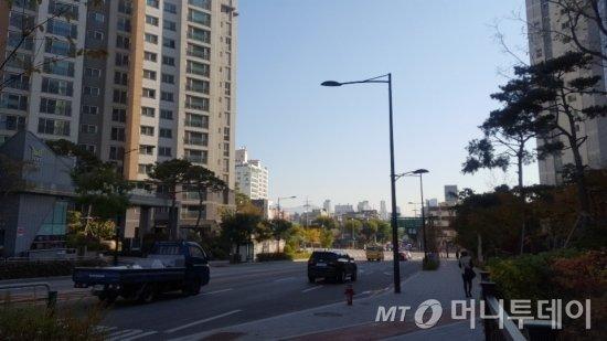 텐즈힐(사진 왼쪽)과 센트라스 아파트가 4차선 도로를 사이에 두고 맞닿아 있다. /사진=송선옥 기자