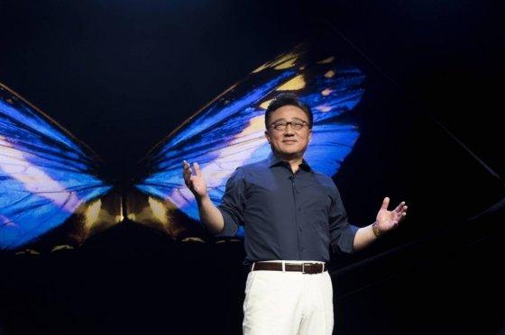 7일 미국 미국 샌프란시스코 모스콘센터에서 개막한 '삼성개발자콘퍼런스 2018'에서 고동진 삼성전자 IM부문장이 기조연설하고 있다. /사진제공=삼성전자