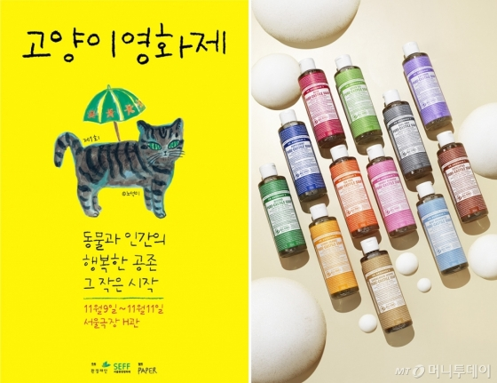 /사진=환경재단 주최 '2018 고양이영화제' 공식 포스터, 닥터 브로너스 매직솝