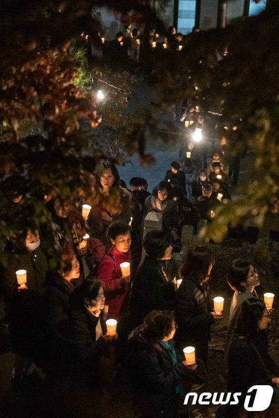 [사진]수능 기도 촛불행렬