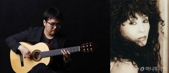 집시 재즈기타리스트 박주원(왼쪽)과 가수 윤시내. /사진제공=JNH뮤직<br>