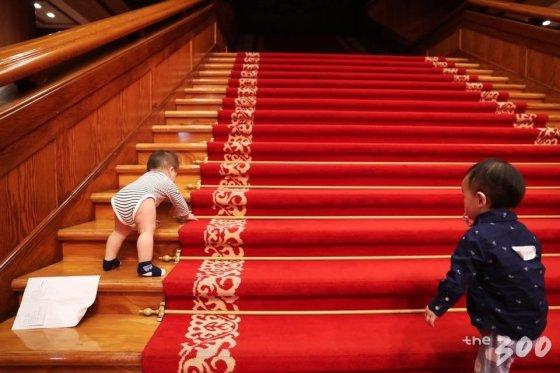청와대 본관 2층으로 올라가는 계단에 깔린 레드카펫. 비혼모 엄마들과 같이 청와대를 찾은 아기들이 걸음마를 떼고 있다./청와대 페이스북