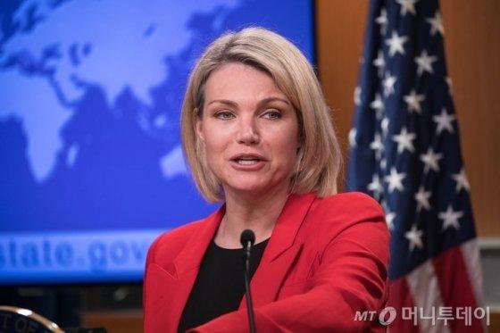 유엔주재 미국대사로 낙점된 헤더 나워트 국무부 대변인. /AFPBBNews=뉴스1