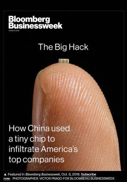 블룸버그 비즈니스 위크의 중국산 서버 스파이칩 내장 보도 모습. /사진=블룸버그