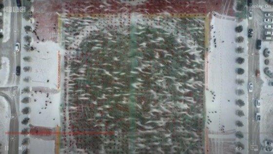 하늘에서 본 얼음안개 축제 - BBC 화면 갈무리