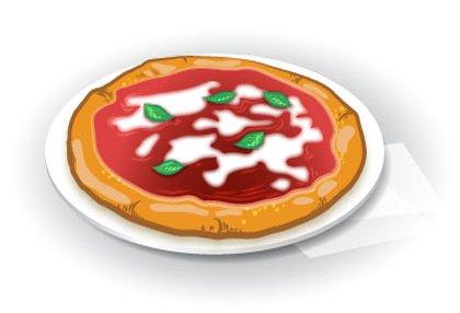 녹색, 빨간색, 흰색이 들어간 마르게리따 피자.