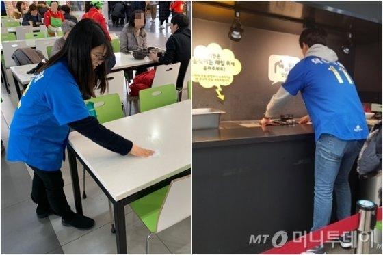 2일 덕평자연휴게소에서 테이블 청소와 식기반납대 정리를 하는 모습. /사진=이지윤 기자, 이강준 기자