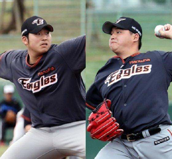 김민우(왼쪽)와 박주홍./사진=한화 이글스<br>