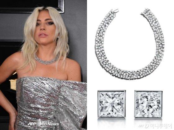 레이디 가가가 2019 그래미어워드에서 착용한 티파니 다이아몬드 주얼리 /사진=/AFPBBNews=뉴스1, 티파니 제공