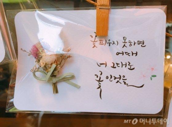 서울 종로구 익선동에서 만난 엽서 속 문구가 좋아 찍었다./사진=남형도 기자