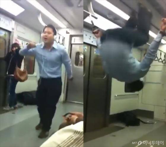 4호선 지하철 안에서 2PM(투피엠)의 'Again & Again(어게인 앤 어게인)'을 부르며 춤을 추는 김승국씨(37). 가사에 맞춰 공중제비를 도는 모습이 인상적이다(오른쪽). /사진=유튜브 채널 'Yamyam0313' 캡처