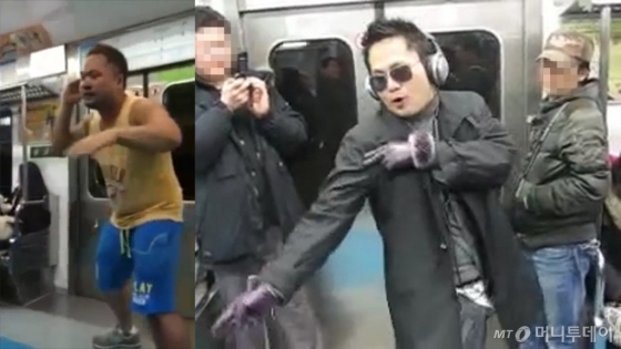 (왼쪽부터 차례대로) 김승국씨(37)가 지하철 안에서 그룹 블락비의 'HER(헐)', 가수 비의 'Rainism(레이니즘)'에 맞춰 공연을 선보이고 있다. /사진=유튜브 채널 'Woo An', 'dtiger67' 캡처