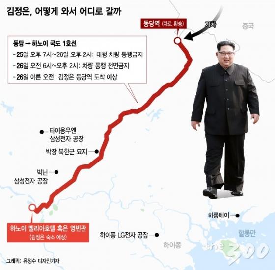 [그래픽뉴스]김정은 '하노이 대장정', 길 옆에 삼성공장이…