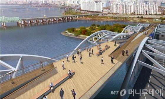 한강대교 보행로에 조성될 예정인 백년마당 투시도. /사진제공=서울시