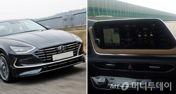 '신형 쏘나타'의 모습(왼쪽)과 실제 도로를 주행하는 차 내부 모습./사진=이건희 기자, 현대차