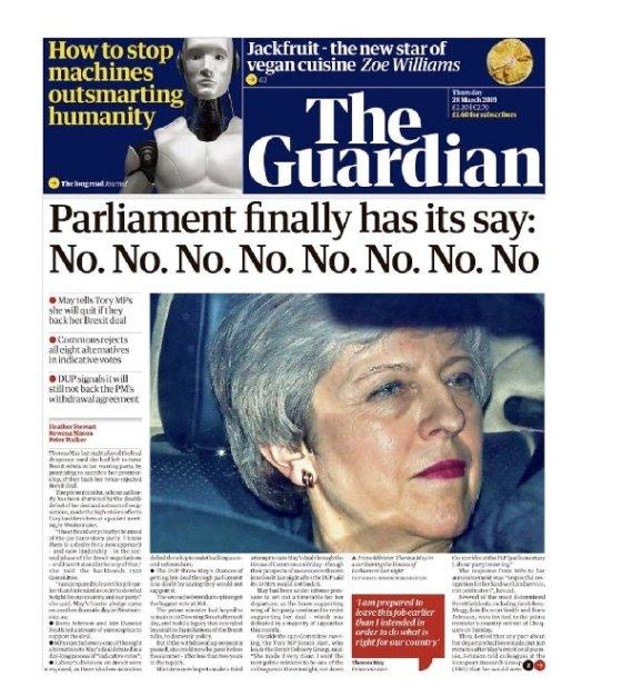 영국 일간 가디언지의 3월28일자 1면. © 뉴스1