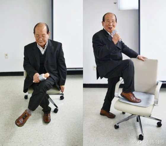 '할담비' 지병수씨(77)가 '미쳤어' 의자춤을 선보이고 있다. /사진=김소영 기자