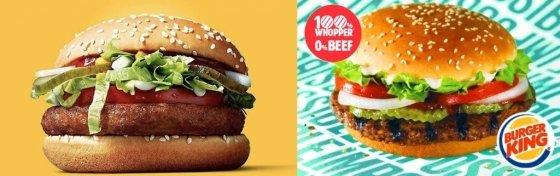 지난해 12월부터 핀란드와 스웨덴에 출시된 맥도날드의 채식 버거 '맥비건'(왼쪽), 버거킹이 대체육류를 이용해 만든 채식 버거 '임파서블 와퍼'./사진=맥도날드, 버거킹<br>