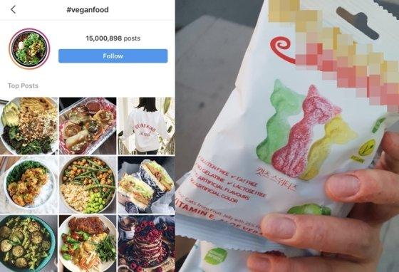SNS(소셜네트워크서비스)에 'veganfood'를 검색하면 나오는 비건 음식 사진(왼쪽), 페트코(Pesco, 일반적 육류만 기피) 김모씨(21·여)가 지난 1일 구매한 '비건젤리'. 가격은 2300원 정도./사진=SNS 캡처, 독자제공