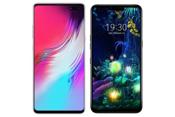 (왼쪽부터)'갤럭시S10 5G'와 'LG V50 씽큐' /사진=삼성전자, LG전자