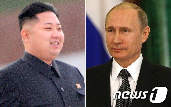 김정은 북한 국무위원장(왼쪽)과 블라디미르 푸틴 러시아 대통령. © AFP=뉴스1