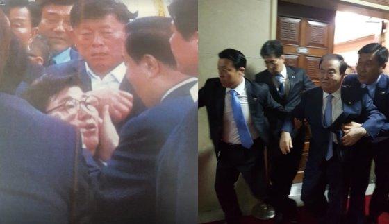 임이자 의원의 볼을 만지는 문희상 국회의장, 경호원에 둘러싸여 국회를 나가는 문희상 의장/사진제공=민경욱 의원 페이스북