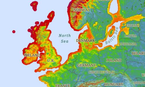 붉은색일 수록 바람이 강하게 부는 것을 가리킨다. 덴마크에는 이처럼 연중 강한 바람이 불어온다. /사진=globalwindatlas.info/