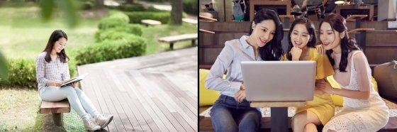앉은 사진에 사선 구도를 적용한 예시(왼쪽), 무릎에서 자른 예시(오른쪽)/사진=이미지투데이