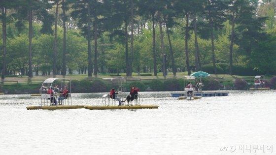 일산 호수공원을 걷다 지쳤다면 '수상 꽃 자전거'를 타며 낭만을 만끽할 수 있다. /사진=김소영 기자