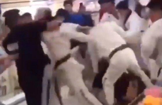 집단 난투극을 벌이고 있는 모습 - 유튜브 화면 갈무리