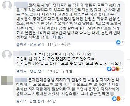 사진=나경원 자유한국당 원내대표 SNS 댓글 캡처