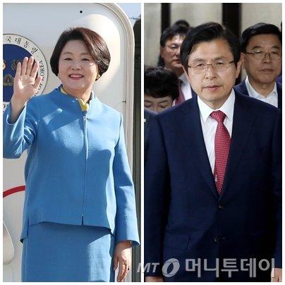 왼쪽부터 김정숙 여사, 황교안 자유한국당 대표./사진=머니투데이 DB