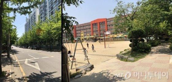 (좌) 해당 가게에서 가장 가까운 초등학교까지 가는 길. 우측 상단에 '어린이 보호구역' 표지가 있다. (우) 점심시간을 맞아 초등학생들이 그네로 달려가고 있다./사진=조해람 인턴기자