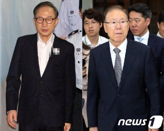 이명박 전 대통령(왼쪽)과 김백준 전 청와대 총무기획관. © News1 황기선 기자