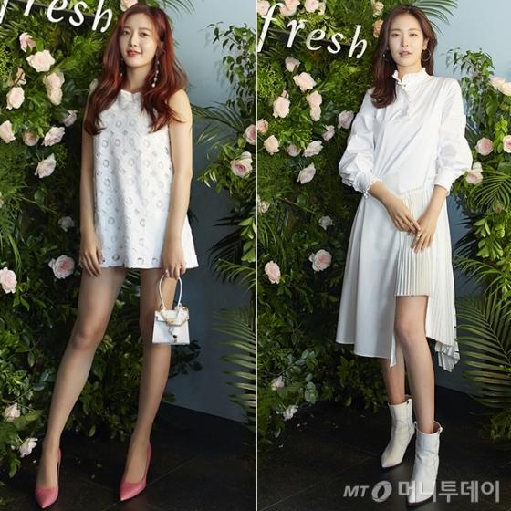 지난 24일 서울 연남동에서 열린 프레쉬 신제품 런칭 기념 팝업 이벤트에 참석한 그룹 AOA의 찬미(좌측)와 배우 정유진(우측) /사진제공=프레쉬