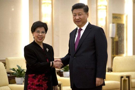 마거릿 챈 전 세계보건기구(WHO) 사무총장과 시진핑 중국 국가주석이 지난 2016년 7월 중국 수도 베이징에서 만나 악수를 나누고 있다./사진=AFP.