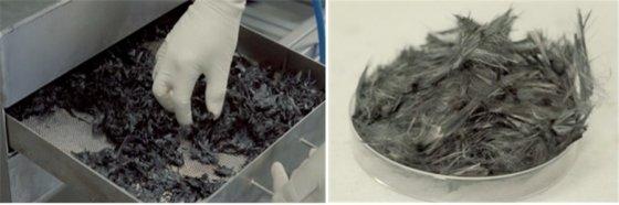 물을 용매로 재활용한 CFRP(탄소섬유복합소재, 사진 왼쪽)와 재활용 후 건조한 모습/사진제공=카텍에이치