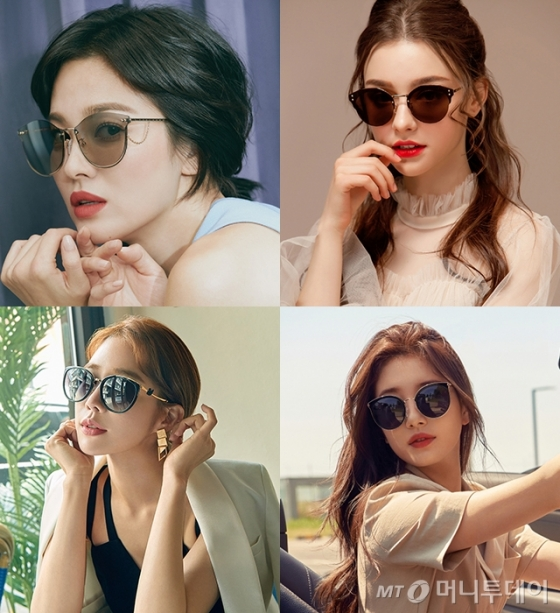 (왼쪽 상단) 배우 송혜교, (아래) 유인나, 수지 /사진제공=베디베로, 뷰, 브라이언앤데이비드, 카린