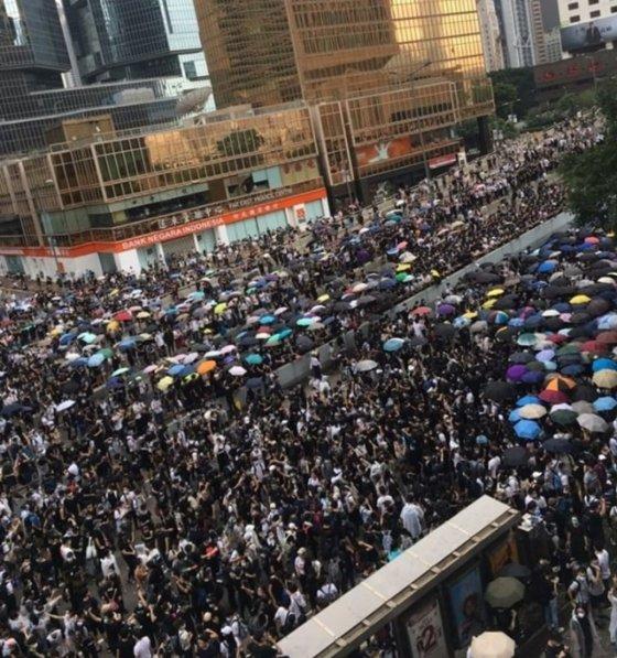 지난 12일 홍콩 시위 현장. /사진=이재은 기자