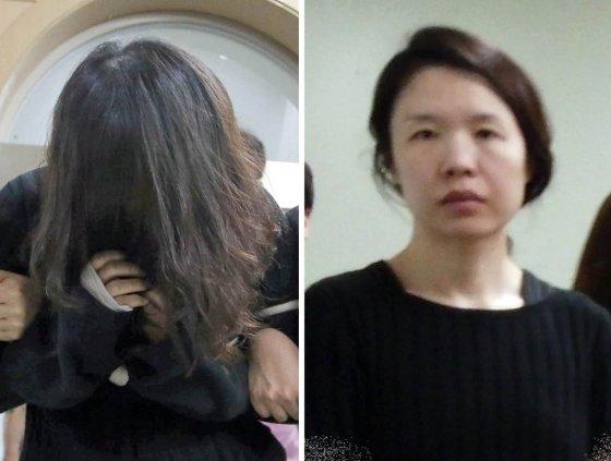 고유정 머리 가린 모습(왼쪽)과 진술녹화실 이동 도중 포착된 모습(오른쪽)./사진=뉴시