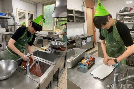 치킨이 튀겨지는 동안 조리 기구를 설거지 하는 모습(왼쪽). 치킨 박스 포장을 마무리하는 모습(오른쪽)./사진=이강준 기자