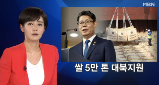 김주하 MBN 앵커가 19일 '뉴스8' 생방송을 진행하다 식은땀을 흘리고 있다. /사진=MBN '뉴스8' 캡처