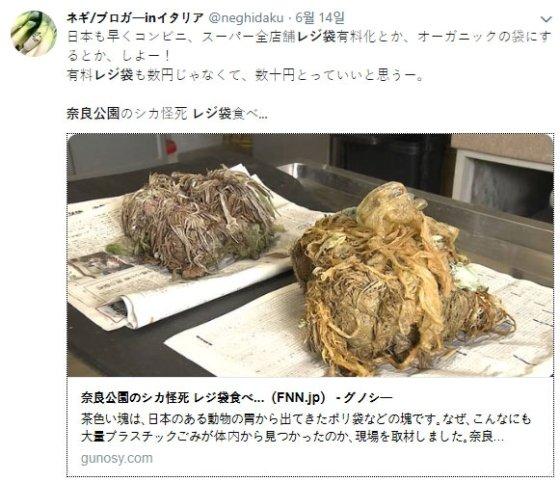 죽은 사슴의 배에서 나온 쓰레기. /사진=트위터