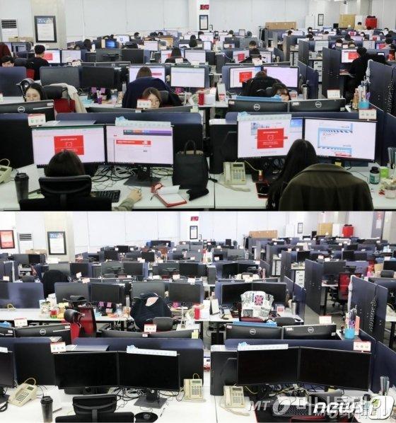 주52시간제 계도기간이 끝난 1일 서울 강남구 위메프 본사에서 직원들이 오후 6시에 맞춰 정시퇴근 해 자리가 비어 있다(아래 사진). 위 사진은 근무 시간의 모습. 위메프는 퇴근시간이 지나면 사내 PC가 자동으로 종료되는 PC오프제를 도입해 이날부터 시행했다./사진=뉴스1