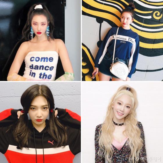 /사진=선미, 레드벨벳 조이, 소녀시대 태연 인스타그램