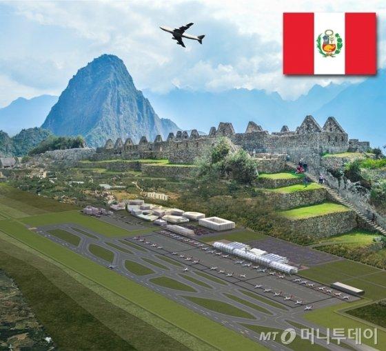 한국공항공사가 지난 6월 26일 우선협상대상자로 선정된 페루 친체로 신공항 PMO사업의 본계약이 빠르면 8월 중 현지 정부 승인을 거쳐 체결된다. 신체로 신공항과 마추픽추 이미지 컷. /자료=한국공항공사