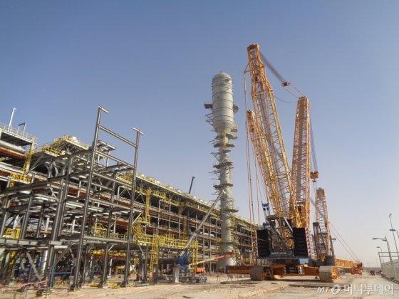 현대건설이 현재 사우디에서 수행 중인 우쓰마니아 에탄 회수처리시설 공사 현장 전경. /사진제공=현대건설