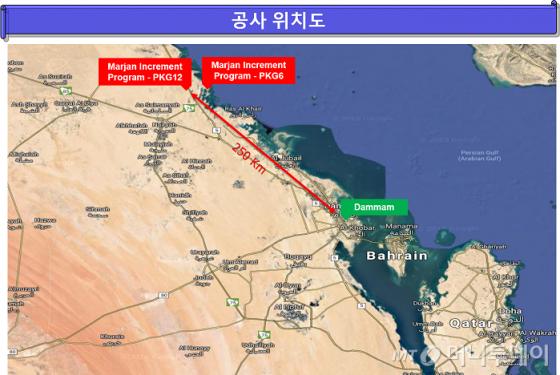 사우디 마잔 프로젝트 패키지6, 패키지 12 위치도. /사진제공=현대건설