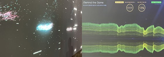 전시장 작품. 1,000,000/3sec(왼쪽)과 비하인드 더 게임.